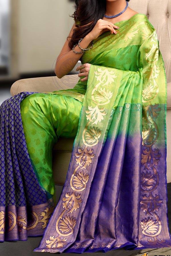 Green N Purple Colored Traditional Silk Saree With Blouse For Women - CD644