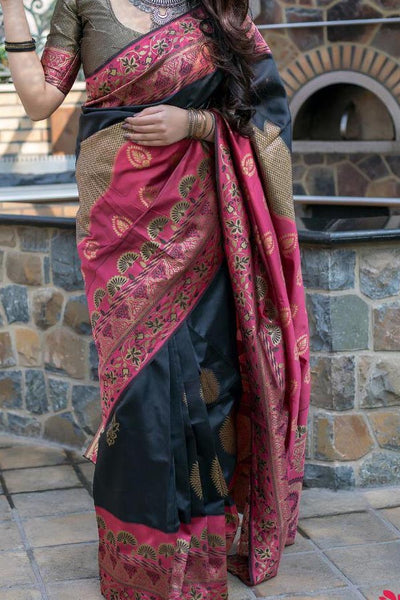 Black Colored Traditional Silk Saree With Blouse For Women - CD656