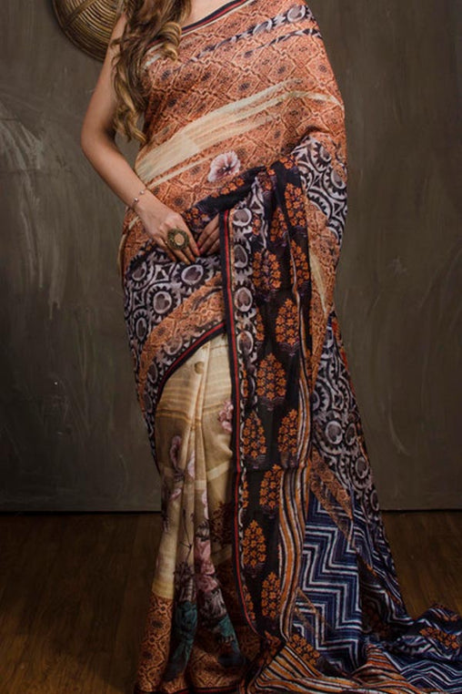 Multi Colored Traditional Silk Saree With Blouse For Women - CD657