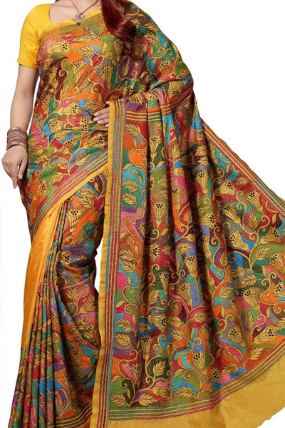 Multi Colored Traditional Silk Saree With Blouse For Women - CD659
