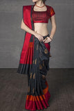 Black N Red Colored Traditional Silk Saree With Blouse For Women - CD660