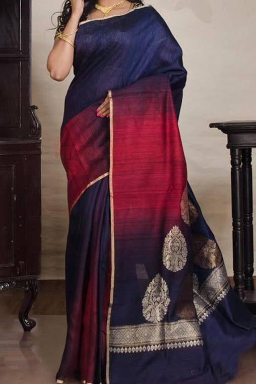 Blue N Red Colored Traditional Silk Saree With Blouse For Women - CD661