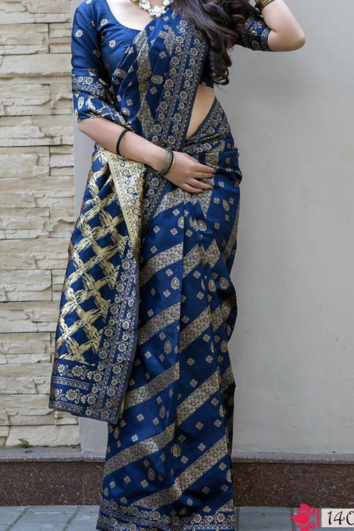 Blue Colored Traditional Silk Saree With Blouse For Women - CD662
