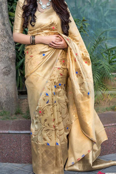 Classy Silk Beige Colored Saree With Blouse For Women - CD663