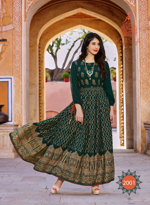 Green Original Kajal Agrawal Heavy Reyon With Pal Print Long Sleeves Long Kurti - KAK101