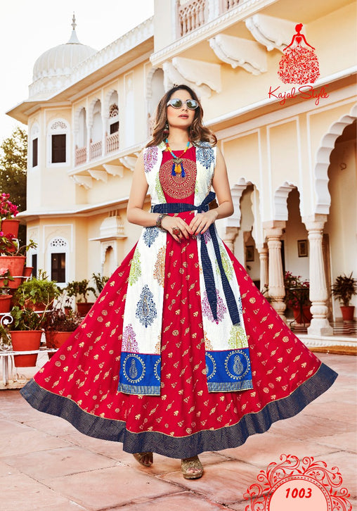 Red Designer Original Kajal Agrawal Heavy Reyon With Pal Print Umbrella Sleeves Long Kurti - KAK110