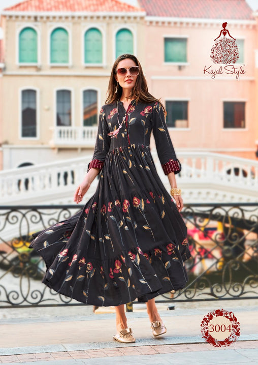 Demanding Black Rose Pattern Original Kajal Agrawal Heavy Reyon With Pal Print Long Sleeves Long Kurti With Plazzo - KAK111