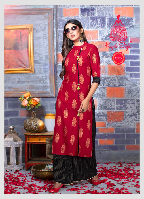 Pink Plazzo Style Original Kajal Agrawal Heavy Reyon With Pal Print Long Sleeves Long Kurti With Plazzo - KAK112