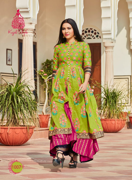 Green-Pink Double Layer Original Kajal Agrawal Heavy Reyon With Pal Print Long Sleeves Long Kurti With Plazzo - KAK113