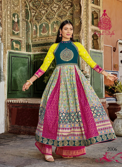 Stunning Multicolor Plazzo Style Original Kajal Agrawal Heavy Reyon With Pal Print Long Sleeves Long Kurti With Plazzo - KAK118