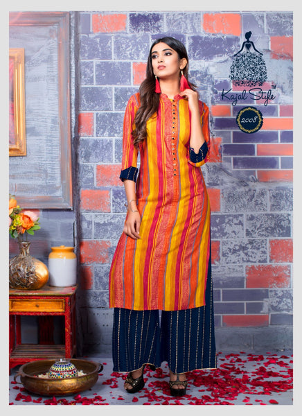 Great Multicolor Original Kajal Agrawal Heavy Reyon With Pal Print Long Sleeves Long Kurti With Plazzo With Plazzo - KAK119