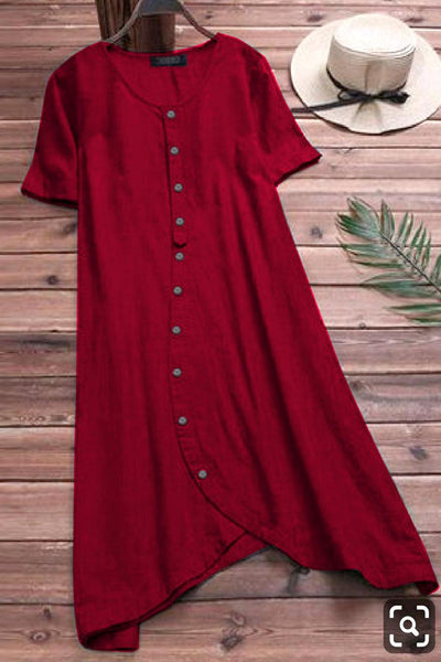 Red Colored Pure Slub Cotton Button Kurti With Pocket Style