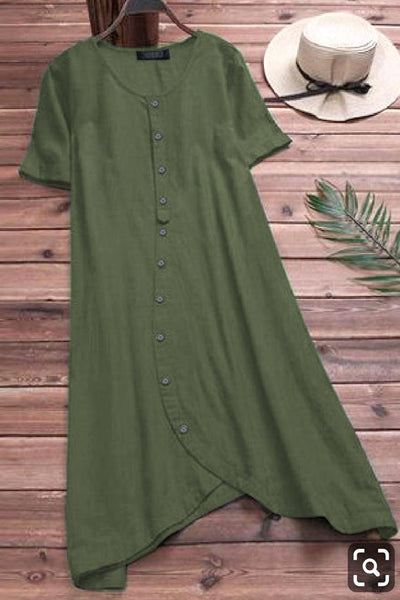Russian Green Colored Pure Slub Cotton Button Kurti With Pocket Style
