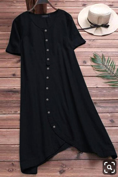 Black Colored Pure Slub Cotton Button Kurti With Pocket Style