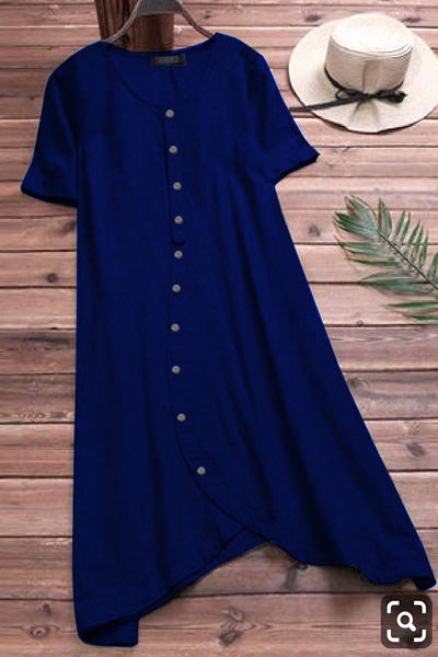 Blue Colored Pure Slub Cotton Button Kurti With Pocket Style
