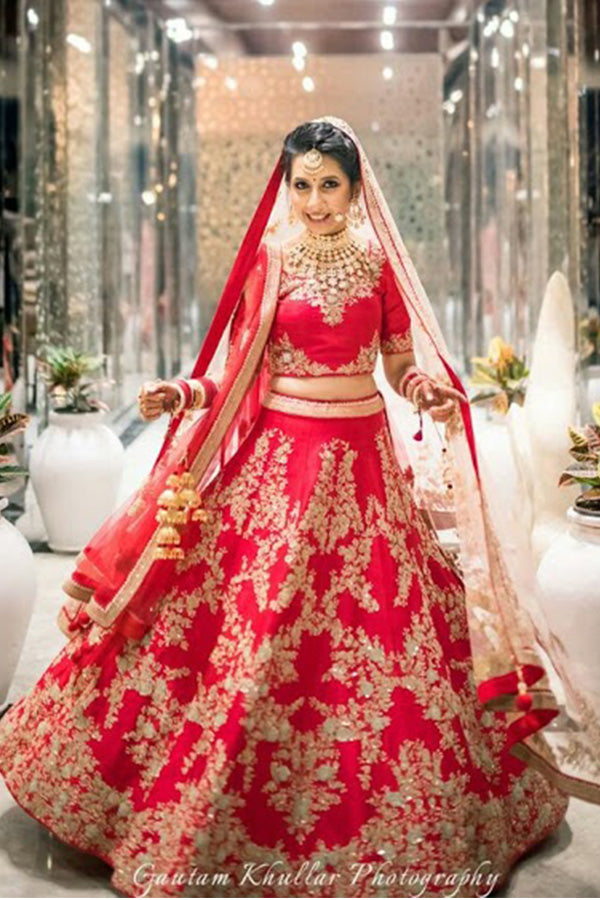 405b90e58 Adorning Red Colored Party Wear Designer Embroidered Taffeta Silk Lehenga  Choli