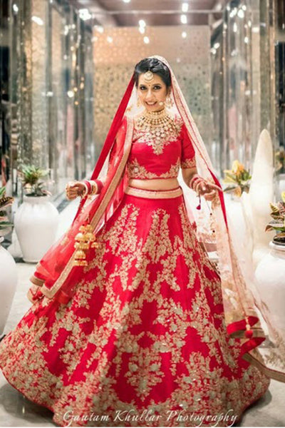 Adorning Red Colored Party Wear Designer Embroidered Taffeta Silk Lehenga Choli