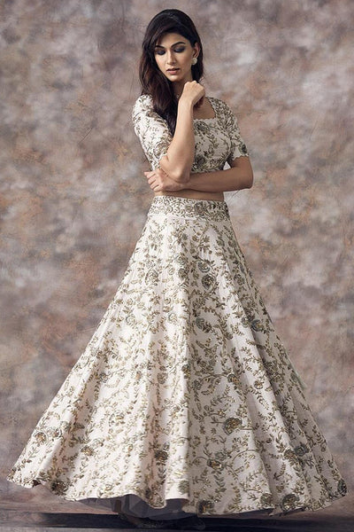 Extraordinary Cream Color Party Wear Designer Embroidered Taffeta Silk Lehenga Choli