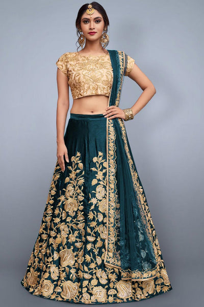 Flirty Green Colored Party Wear Embroidered Velvet Fabric Lehenga Choli