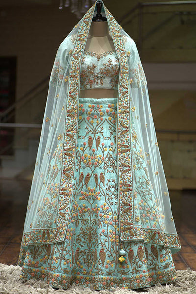 Starring Blue Colored Party Wear Fancy Taffeta Silk Fabric Lehenga Choli