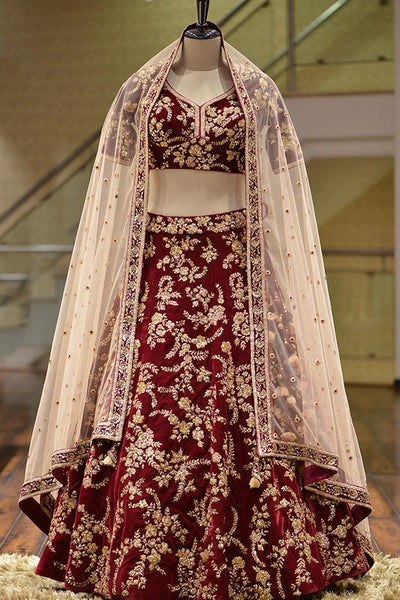 Hypnotic Maroon Colored Party Wear Fancy Taffeta Silk Fabric Lehenga Choli