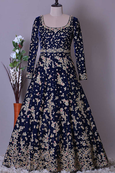 Blooming Blue Colored Party Wear Designer Taffeta Silk Fabric Lehenga Choli