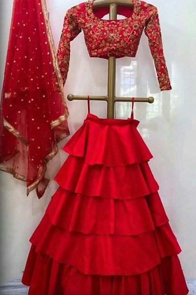 Refreshing Red Colored Party Wear Designer Embroidered Taffeta Silk Lehenga Choli