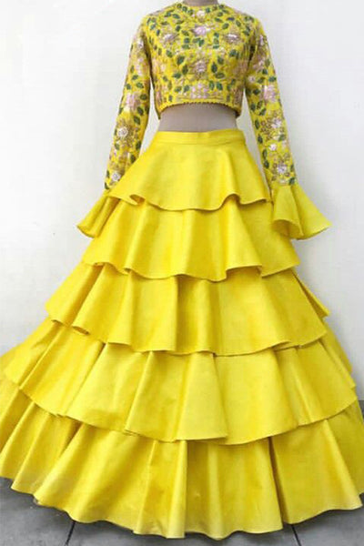 Desirable Yellow Colored Party Wear Designer Embroidered Taffeta Silk Lehenga Choli