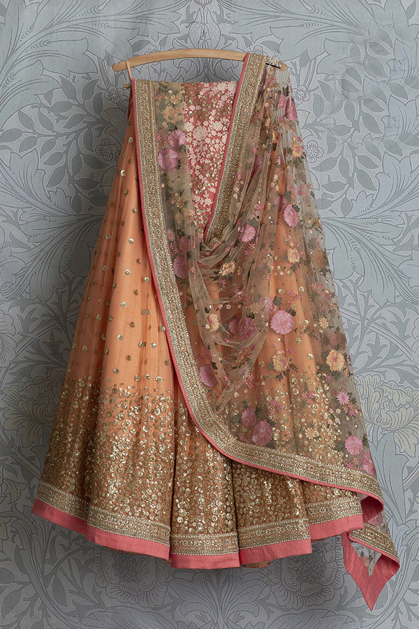 Marvellous Orange Color Partywear Embroidered Net Fabric  Lehenga Choli