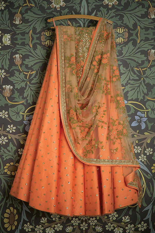 Gleaming Orange Color Partywear Embroidered Net Fabric  Lehenga Choli