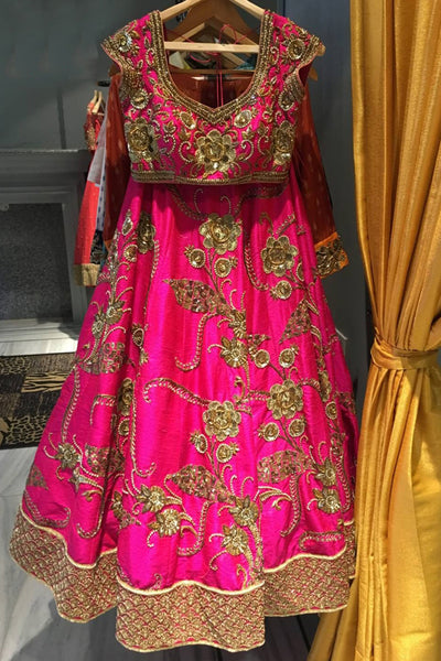 Arresting Pink Colored Party Wear Designer Embroidered Taffeta Silk Lehenga Choli