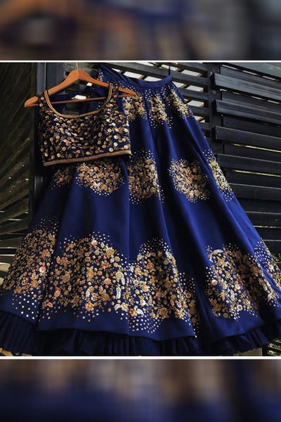 Opulent Navy Blue Colored Party Wear Designer Embroidered Taffeta Silk Lehenga Choli