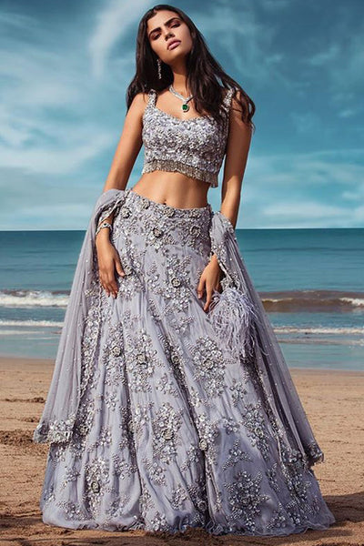 Capricious Grey Colored Festive Wear Embroidered Taffeta Silk Lehenga Choli