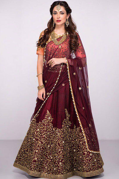 Snazzy Maroon Colored Festive Wear Embroidered Taffeta Silk Lehenga Choli