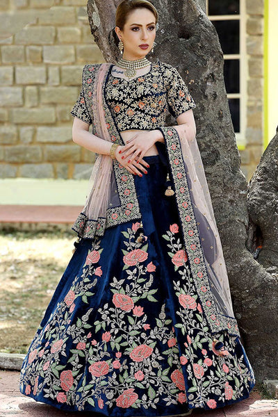 Sizzling Navy Blue Colored Party Wear Designer Embroidered Taffeta Silk Lehenga Choli
