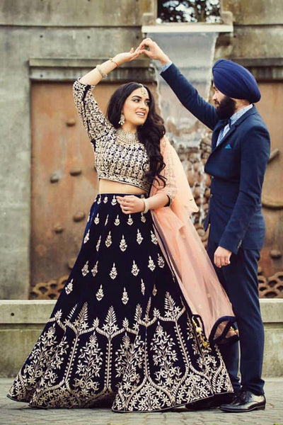 Trendy Navy Blue Colored Party Wear Designer Embroidered Taffeta Silk Lehenga Choli
