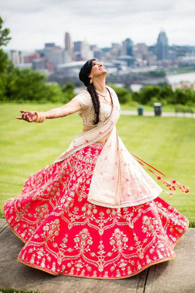Mesmerising Pink Colored Party Wear Designer Embroidered Taffeta Silk Lehenga Choli