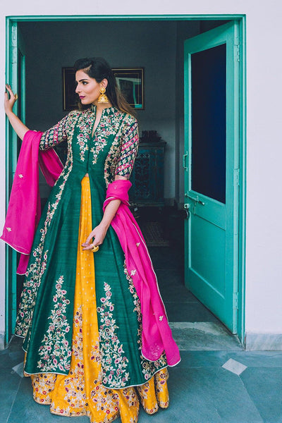 Stunning Green-Yellow Colored Designer Embroidered Taffeta Silk Lehenga Kameez