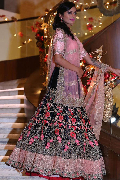 Classy Navy Blue Colored Designer Embroidered Taffeta Silk Lehenga Choli