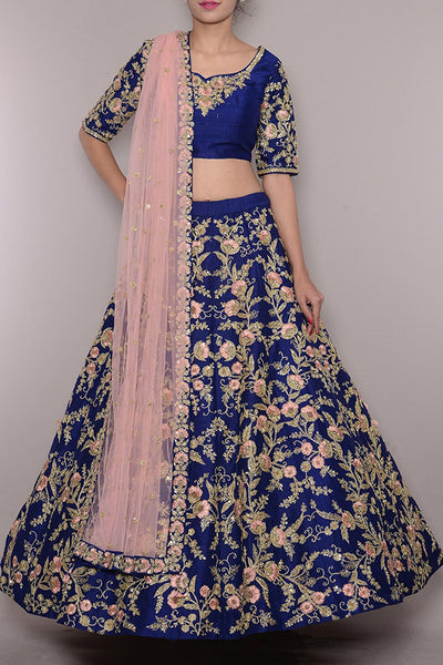 Beautiful Blue Colored Partywear Designer Embroidered Taffeta Silk Lehenga Choli