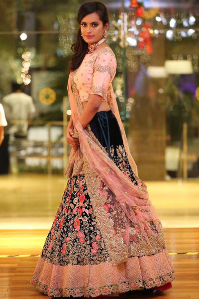 Flattering Blue-Pink Colored Partywear Embroidered Taffeta Silk Lehenga Choli