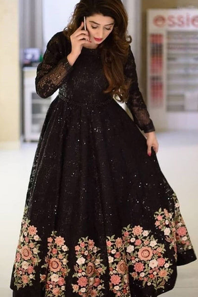Deserving Black Colored Party Wear Designer Embroidered Taffeta Silk Lehenga Choli