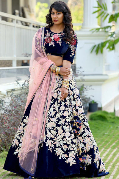 Impressive Navy Blue Colored Partywear Embroidered Taffeta Silk Lehenga Choli