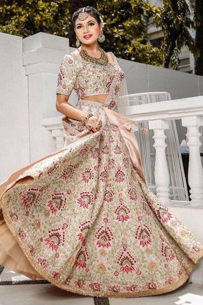 Classic Cream Colored Party Wear Designer Embroidered Taffeta Silk Lehenga Choli