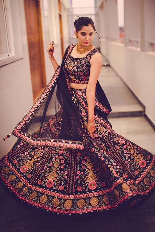 Charming Black Colored Wedding Wear Embroidered Taffeta Silk Lehenga Choli