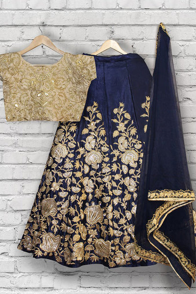 Gleaming Navy Blue-Beige Colored Partywear Embroidered Taffeta Silk Lehenga Choli