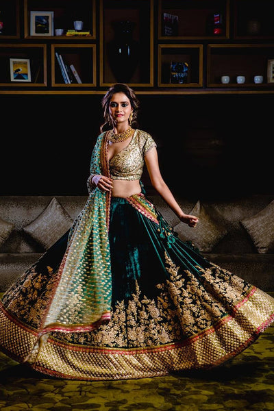 Exceptional Green Colored Party Wear Designer Embroidered Taffeta Silk Lehenga choli