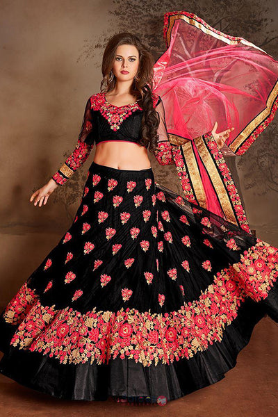 Flamboyant Black Colored Partywear Embroidered Taffeta Silk Lehenga Choli