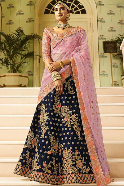 Mesmeric Blue Colored Partywear Embroidered Taffeta Silk  Lehenga Choli