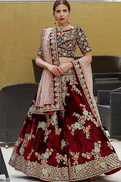 Appealing Maroon Colored Partywear Embroidered Pure Taffeta Silk Lehenga Choli
